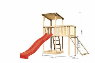 Akubi Kinderspielturm Anna mit Pultdach inkl. Anbauplattform, Wellenrutsche und Netzrampe