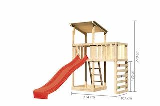 Akubi Kinderspielturm Anna mit Pultdach inkl. Anbauplattform, Wellenrutsche und Kletterwand