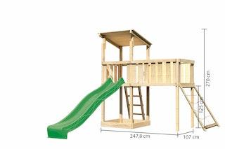 Akubi Kinderspielturm Anna mit Pultdach inkl. Anbauplattform XL, Wellenrutsche und Netzrampe