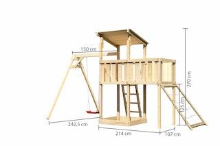 Akubi Kinderspielturm Anna mit Pultdach inkl. Einzelschaukel, Anbauplattform und Netzrampe