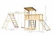 Akubi Kinderspielturm Anna mit Pultdach inkl. Netzrampe, Anbauplattform, Doppelschaukel und Klettergerüst
