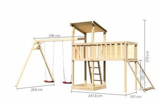 Akubi Kinderspielturm Anna mit Pultdach inkl. Doppelschaukel, Anbauplattform XL und Netzrampe