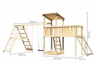 Akubi Kinderspielturm Anna mit Pultdach inkl. Netzrampe, Anbauplattform XL, Doppelschaukel und Klettergerüst