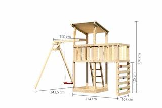 Akubi Kinderspielturm Anna mit Pultdach inkl. Einzelschaukel, Anbauplattform und Kletterwand