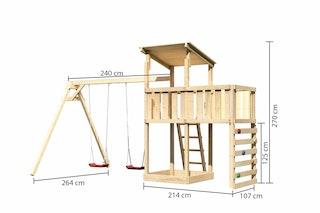 Akubi Kinderspielturm Anna mit Pultdach inkl. Doppelschaukel, Anbauplattform und Kletterwand