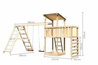 Akubi Kinderspielturm Anna mit Pultdach inkl. Kletterwand, Anbauplattform, Doppelschaukel und Klettergerüst