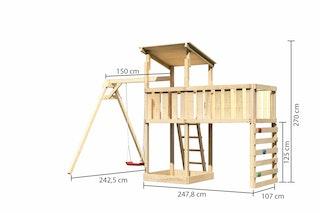 Akubi Kinderspielturm Anna mit Pultdach inkl. Einzelschaukel, Anbauplattform XL und Kletterwand