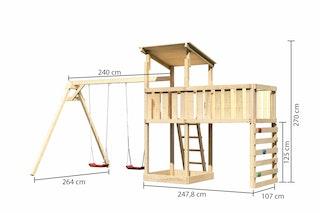 Akubi Kinderspielturm Anna mit Pultdach inkl. Doppelschaukel, Anbauplattform XL und Kletterwand