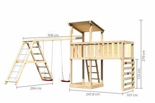 Akubi Kinderspielturm Anna mit Pultdach inkl. Kletterwand, Anbauplattform XL, Doppelschaukel und Klettergerüst