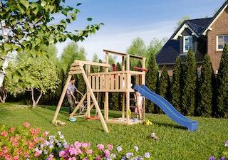 Akubi Kinderspielturm Anna mit Pultdach inkl. Einzelschaukel, Anbauplattform, Wellenrutsche und Netzrampe