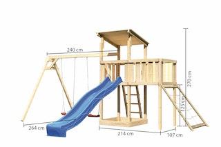 Akubi Kinderspielturm Anna mit Pultdach inkl. Doppelschaukel, Anbauplattform, Wellenrutsche und Netzrampe