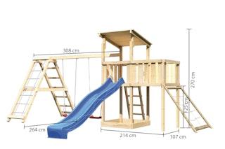Akubi Kinderspielturm Anna mit Pultdach inkl. Netzrampe, Wellenrutsche, Anbauplattform, Doppelschaukel und Klettergerüst
