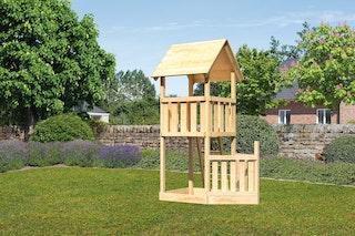 Akubi Kinderspielturm Lotti mit Satteldach inkl. Schiffsanbau unten