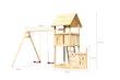 Akubi Kinderspielturm Lotti mit Satteldach inkl. Schiffsanbau unten und Doppelschaukelanbau