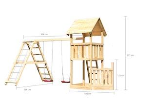 Akubi Kinderspielturm Lotti mit Satteldach inkl. Schiffsanbau unten, Doppelschaukelanbau und Klettergerüst