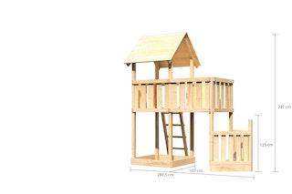 Akubi Kinderspielturm Lotti mit Satteldach inkl. Schiffsanbau unten und Anbauplattform