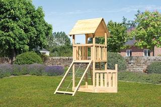 Akubi Kinderspielturm Lotti mit Satteldach inkl. Schiffsanbau unten und Netzrampe