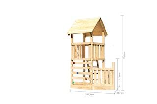 Akubi Kinderspielturm Lotti mit Satteldach inkl. Schiffsanbau unten und Kletterwand