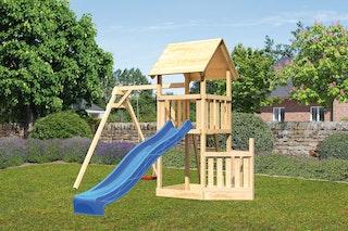 Akubi Kinderspielturm Lotti mit Satteldach inkl. Schiffsanbau unten, Wellenrutsche und Einzelschaukelanbau