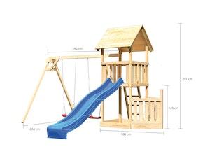 Akubi Kinderspielturm Lotti mit Satteldach inkl. Schiffsanbau unten, Wellenrutsche und Doppelschaukelanbau