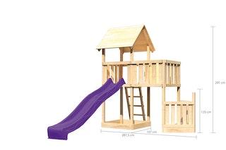 Akubi Kinderspielturm Lotti mit Satteldach inkl. Schiffsanbau unten, Wellenrutsche und Anbauplattform