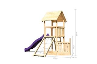 Akubi Kinderspielturm Lotti mit Satteldach inkl. Schiffsanbau unten, Rutsche und Netzrampe