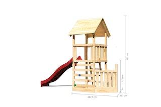 Akubi Kinderspielturm Lotti mit Satteldach inkl. Schiffsanbau unten, Rutsche und Kletterwand