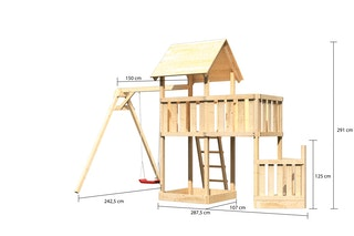 Akubi Kinderspielturm Lotti mit Satteldach inkl. Schiffsanbau unten, Anbauplattform und Einzelschaukelanbau