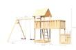 Akubi Kinderspielturm Lotti mit Satteldach inkl. Schiffsanbau unten, Anbauplattform XL und Doppelschaukelanbau