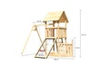 Akubi Kinderspielturm Lotti mit Satteldach inkl. Schiffsanbau unten, Netzrampe und Einzelschaukelanbau