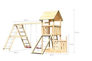 Akubi Kinderspielturm Lotti mit Satteldach inkl. Schiffsanbau unten, Netzrampe, Doppelschaukelanbau und Klettergerüst