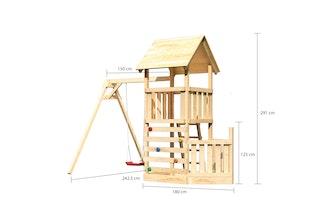 Akubi Kinderspielturm Lotti mit Satteldach inkl. Schiffsanbau unten, Kletterwand und Einzelschaukelanbau