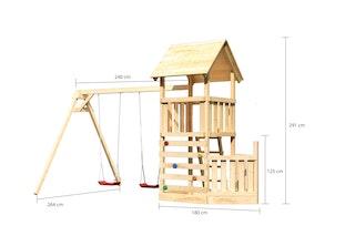 Akubi Kinderspielturm Lotti mit Satteldach inkl. Schiffsanbau unten, Kletterwand und Doppelschaukelanbau