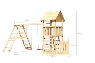 Akubi Kinderspielturm Lotti mit Satteldach inkl. Schiffsanbau unten, Kletterwand, Doppelschaukelanbau und Klettergerüst