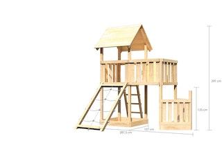 Akubi Kinderspielturm Lotti mit Satteldach inkl. Schiffsanbau unten, Netzrampe und Anbauplattform