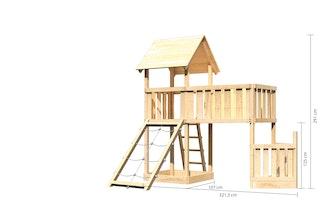 Akubi Kinderspielturm Lotti mit Satteldach inkl. Schiffsanbau unten, Netzrampe und Anbauplattform XL