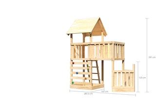 Akubi Kinderspielturm Lotti mit Satteldach inkl. Schiffsanbau unten, Kletterwand und Anbauplattform
