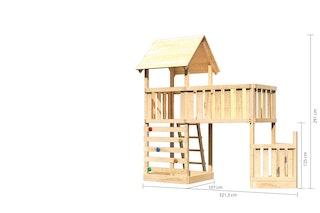 Akubi Kinderspielturm Lotti mit Satteldach inkl. Schiffsanbau unten, Kletterwand und Anbauplattform XL