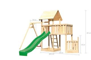 Akubi Kinderspielturm Lotti mit Satteldach inkl. Schiffsanbau unten, Anbauplattform, Einzelschaukelanbau und Wellenrutsche