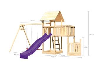 Akubi Kinderspielturm Lotti mit Satteldach inkl. Schiffsanbau unten, Anbauplattform, Doppelschaukelanbau und Wellenrutsche
