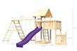 Akubi Kinderspielturm Lotti mit Satteldach inkl. Schiffsanbau unten, Anbauplattform, Doppelschaukelanbau, Wellenrutsche und Klettergerüst