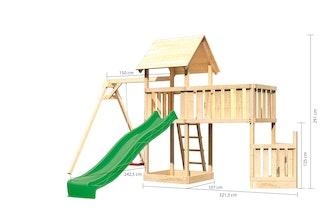 Akubi Kinderspielturm Lotti mit Satteldach inkl. Schiffsanbau unten, Anbauplattform XL, Einzelschaukelanbau und Wellenrutsche