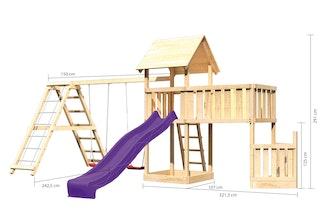 Akubi Kinderspielturm Lotti mit Satteldach inkl. Schiffsanbau unten, Anbauplattform XL, Wellenrutsche, Doppelschaukelanbau und Klettergerüst
