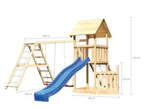 Akubi Kinderspielturm Lotti mit Satteldach inkl. Schiffsanbau unten, Wellenrutsche, Netzrampe, Doppelschaukelanbau und Klettergerüst
