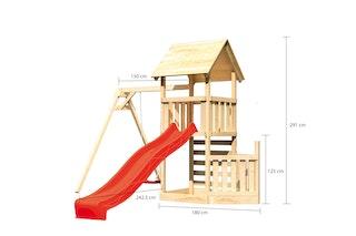 Akubi Kinderspielturm Lotti mit Satteldach inkl. Schiffsanbau unten, Wellenrutsche, Kletterwand und Einzelschaukelanbau