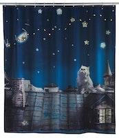 WENKO LED Duschvorhang Moon Cat