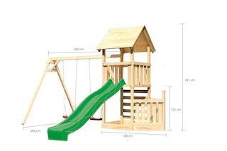 Akubi Kinderspielturm Lotti mit Satteldach inkl. Schiffsanbau unten, Wellenrutsche, Kletterwand und Doppelschaukelanbau