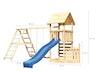 Akubi Kinderspielturm Lotti mit Satteldach inkl. Schiffsanbau unten, Wellenrutsche, Kletterwand, Doppelschaukelanbau und Klettergerüst