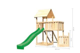 Akubi Kinderspielturm Lotti mit Satteldach inkl. Schiffsanbau unten, Rutsche, Netzrampe und Anbauplattform