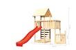 Akubi Kinderspielturm Lotti mit Satteldach inkl. Schiffsanbau unten, Rutsche, Kletterwand und Anbauplattform